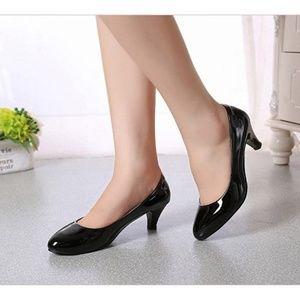 Classic Black Vegan Leather Kitten Heels